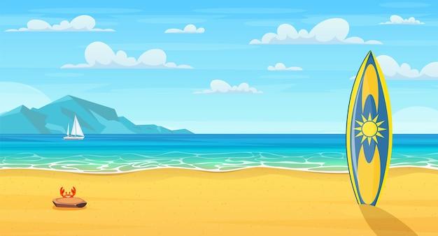 Planche de surf sur une plage de sable. plage d'été de dessin animé. vacances nature paradisiaque, océan ou bord de mer