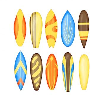 Planche de surf set vector illustration isolée