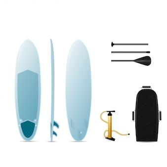 Planche de surf sup à trois côtés. planche de surf, pagaie, pompe et sac de surf.