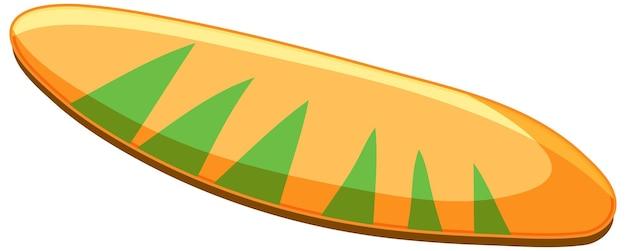 Planche de surf tropicale isolée sur fond blanc