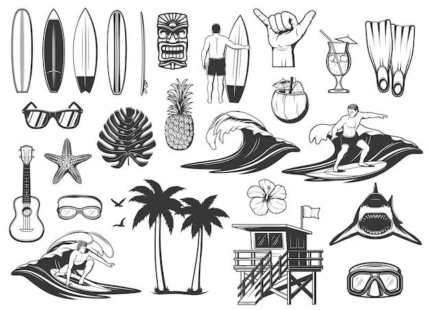 Planche de surf, vagues de l'océan et icônes de vacances à la plage. planche de surf, lunettes de soleil et ananas, cocktail au cacao, requin, masque et lunettes de plongée sous-marine, fleur d'hibiscus, tour de sauveteur et palmes