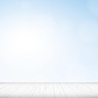 Plancher en bois avec fond de ciel bleu.