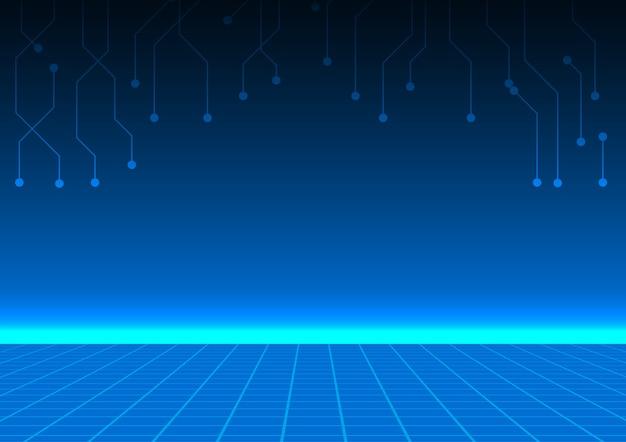 Plancher quadrillé avec lumière horizontale bleue et lignes de circuit