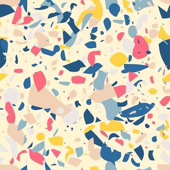 Plancher en terrazzo multicolore, modèle sans couture plat, fabriqué à la main