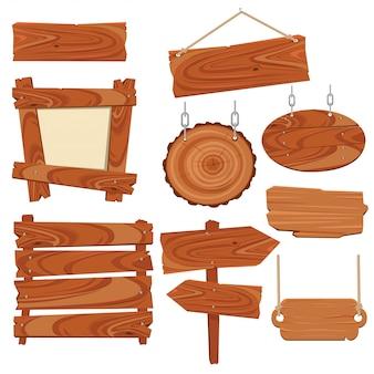Planches de bois et enseignes en bois.