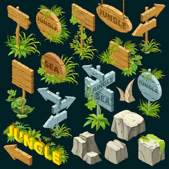 Planches de bois isométriques.