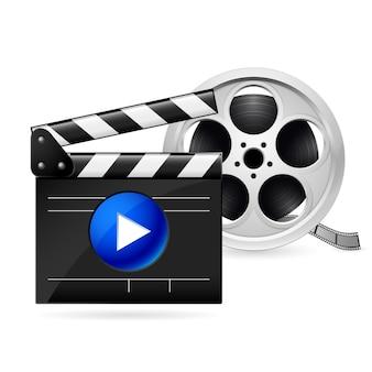 Planches de cinéma et bobine de film