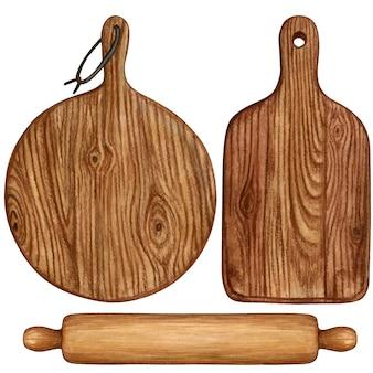 Planches à découper aquarelle en bois et rouleau à pâtisserie