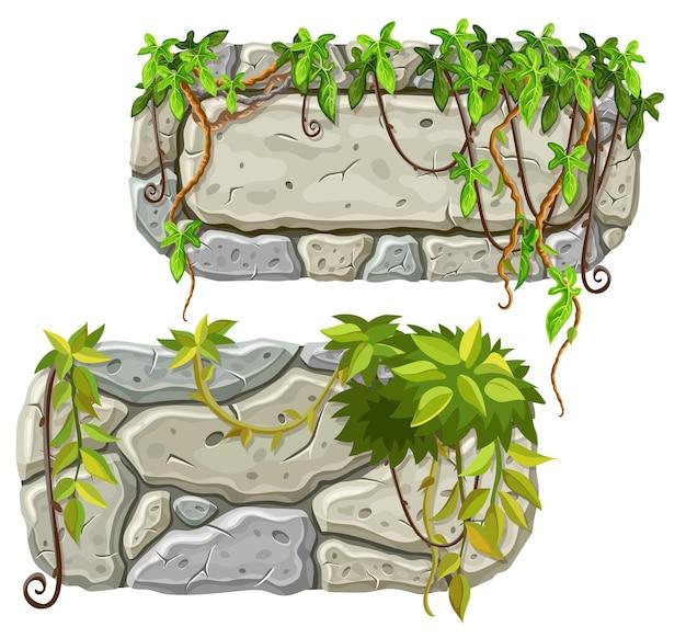 Planches de pierre décoration feuilles de liane