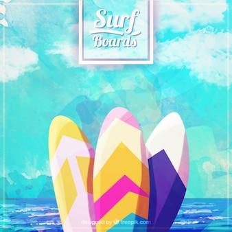 Planches de surf d'aquarelle avec la mer de fond