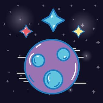 Planète avec le cosmos des étoiles dans l'espace des galaxies