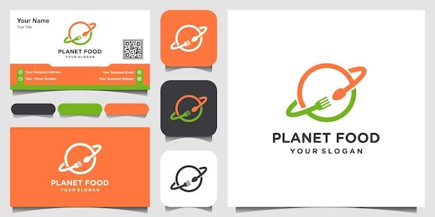 Planète créative combine le modèle de conception de logo de nourriture