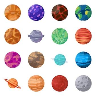 Planète dans le jeu d'icônes de dessin animé de spase. système d'illustration isolé soleil ensemble d'icônes de la planète terre, maes et vénus.
