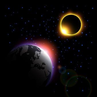 La planète et l'éclipse solaire