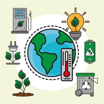 Planète écologique et icônes