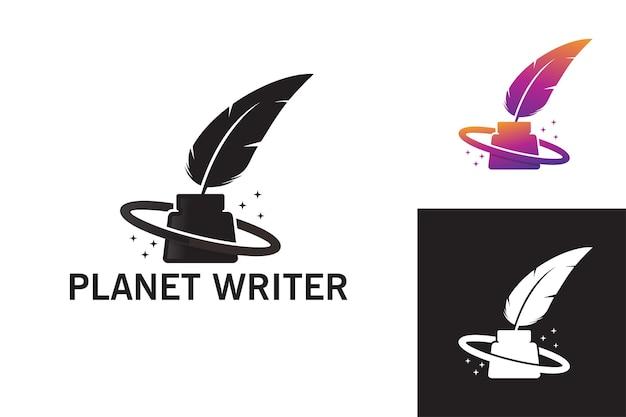 Planète écrivain logo modèle vecteur premium