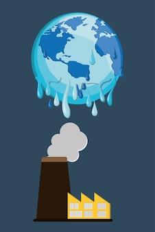 Planète fondre les icônes liées au réchauffement climatique