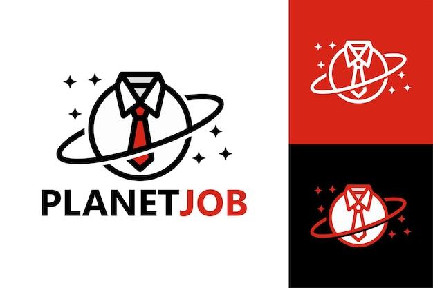 Planète job logo template vecteur premium