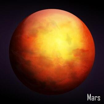 Planète mars réaliste isolée sur fond sombre. illustration