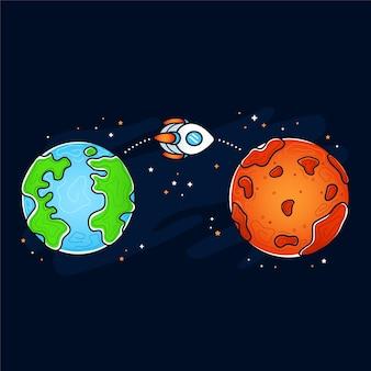 Planète mars et terre