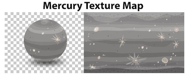 Planète mercure sur transparent avec carte de texture mercure