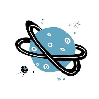 Planète mignonne doodle style dessiné à la main. vecteur, étoiles, et, planète, dans, espace, isolé, blanc, fond