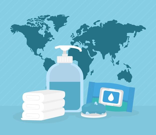 Planète mondiale et antibactérien