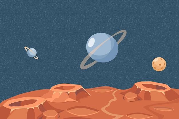 Planète rouge ou surface de la lune vector illustration plate espace extra-atmosphérique