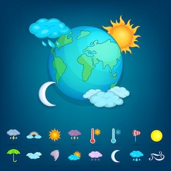 Planète de symboles météo, style cartoon