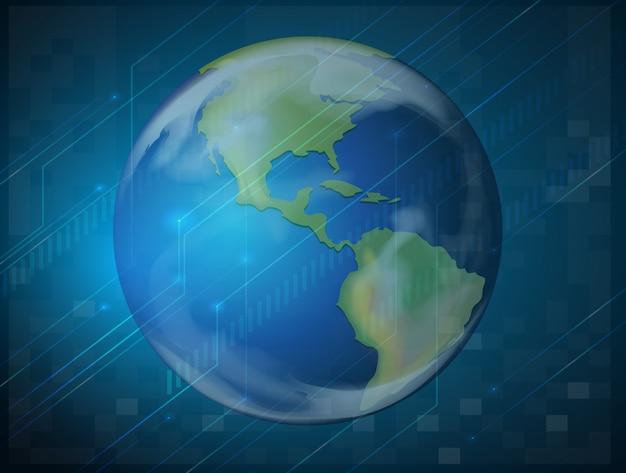 Planète terre sur bleu
