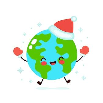 Planète terre en chapeau et gants de noël