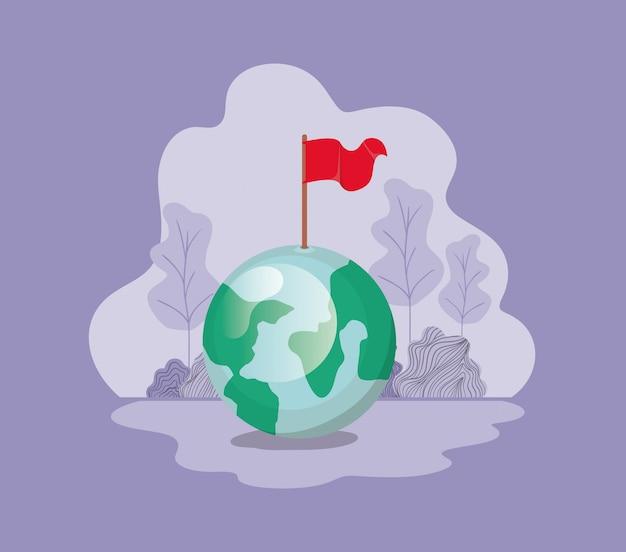 Planète terre avec drapeau