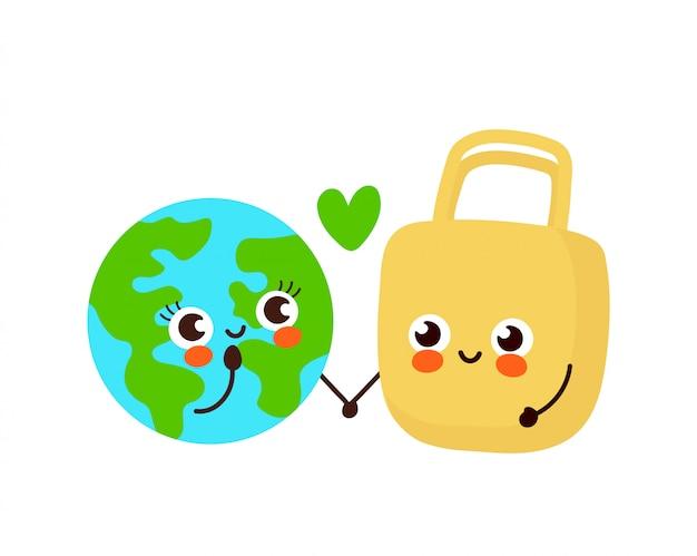 Planète de la terre heureuse mignonne et couple de personnage de sac écologique en amour.