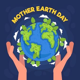 Planète terre jour heureux avec les mains