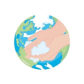 Planète terre et lavage des mains avec de la mousse savonneuse sur fond blanc