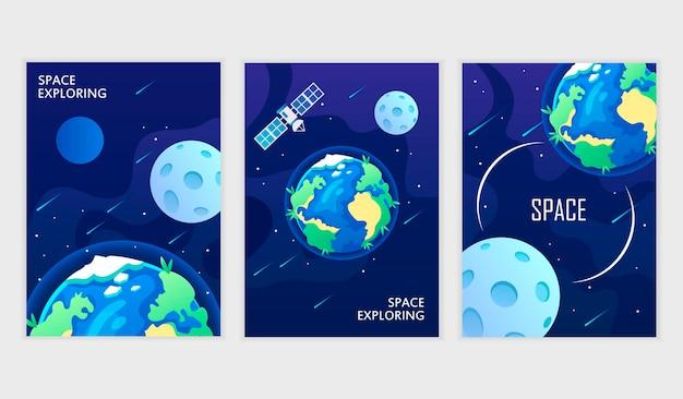 La planète terre et la lune dans le ciel nocturne
