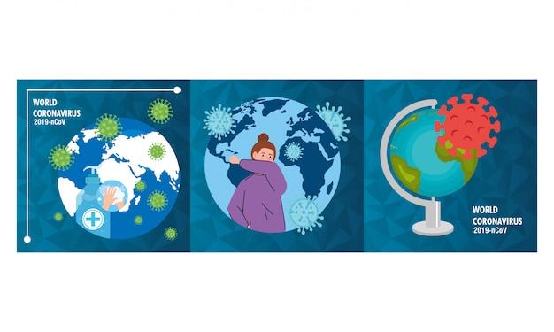 Planète terre avec des particules de covid19 set icons