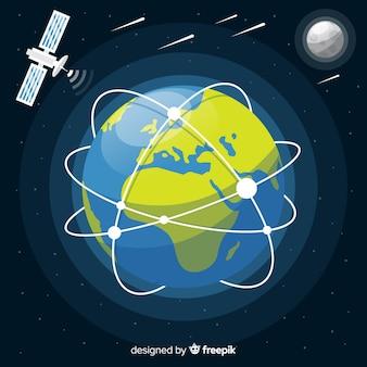 Planète terre avec vaisseau spatial