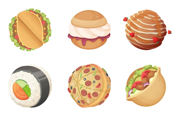 Planètes alimentaires spatiales. jeu monde imaginaire de dessins animés de bonbons bonbons hamburgers et pizza avec repas et salade funny s