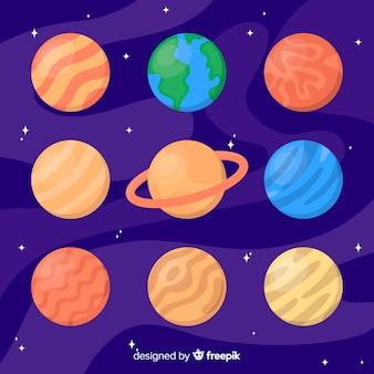Planètes colorées dans le système solaire