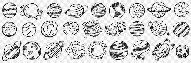 Planètes dans l'ensemble de doodle de l'univers