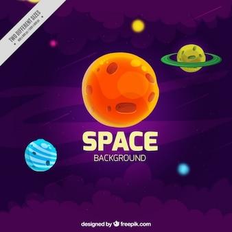 Planètes dessinés à la main fond