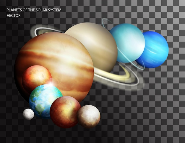 Planètes du système solaire isolés sur fond transparent