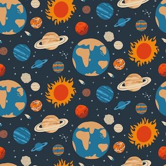 Planètes et étoiles de galaxie cool modèle sans couture de l'espace
