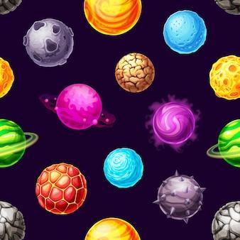 Planètes de galaxie de dessin animé et modèle sans couture d'étoiles de l'espace. fond d'univers fantastique de planètes spatiales avec halo magique, magma, cratères et glace, anneaux d'orbite, cornes de pierre et fissures sur ciel sombre