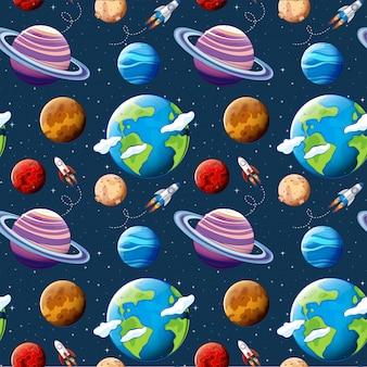 Planètes de modèle sans couture et l'espace