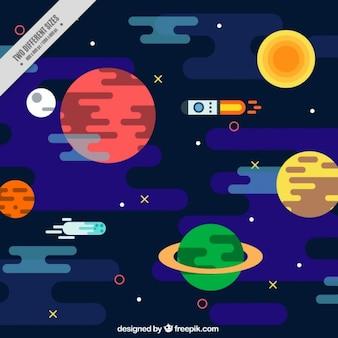 Planètes plates fond