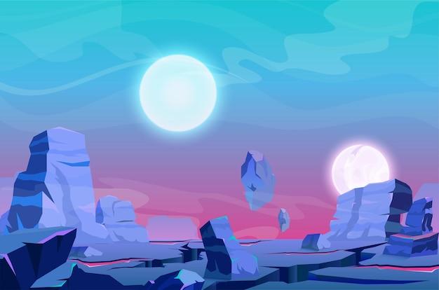 Planètes satellites fantastiques de dessin animé