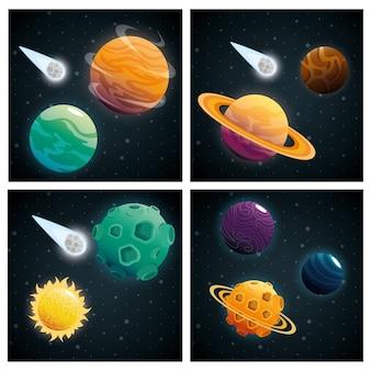Planètes de la scène du système solaire
