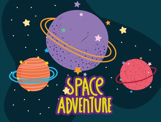 Planètes spatiales étoiles aventure galaxie explorer illustration de dessin animé